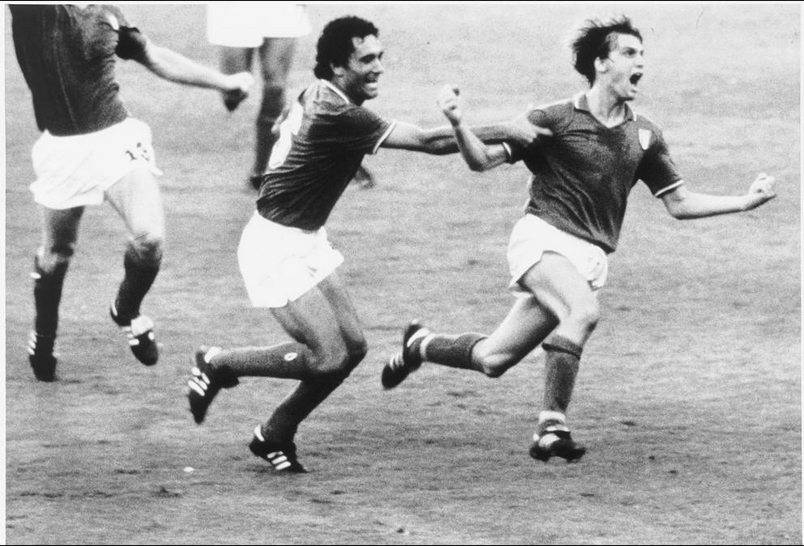 Marco Tardelli and Claudio Gentile at 1982 football world cup in Spain