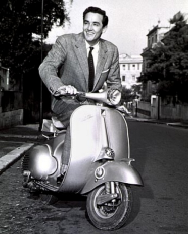 Vittorio Gassman on his Vespa
