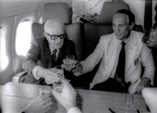 Enzo Bearzot and Sandro Pertini at 1982 football world cup in Spain