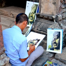 A painter in Bantdeay Kdey temple, Angkor