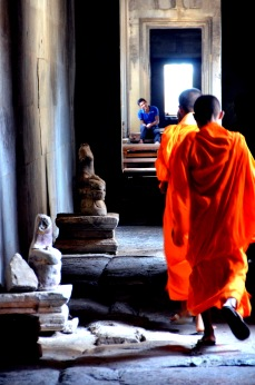 Buddhist monks in Angkor Wat temple