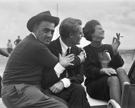 Federico Fellini, Marcello Mastroianni and Sophia Loren on Otto e Mezzo shooting