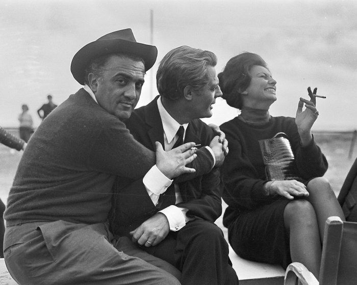 Federico Fellini, Marcello Mastroianni and Sophia Loren on Otto e ...