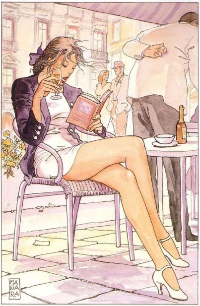 Milo Manara - girl in a bar