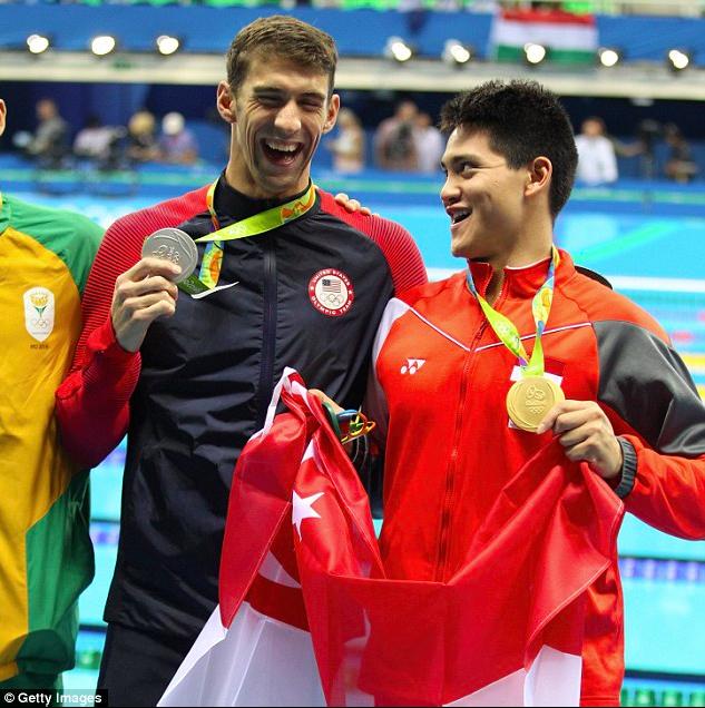 Joseph Schooling and Michael Phelps on Rio podium