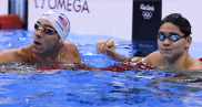 Joseph Schooling and Micheal Phelps at the end of 200m butterfly final