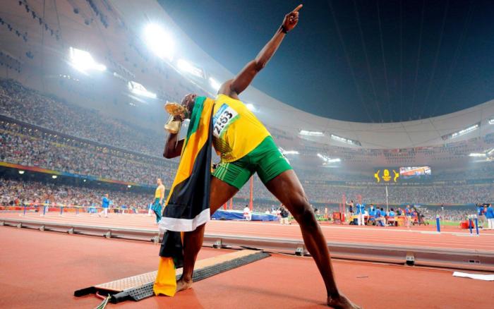 Usain Bolt trademark lightning sign