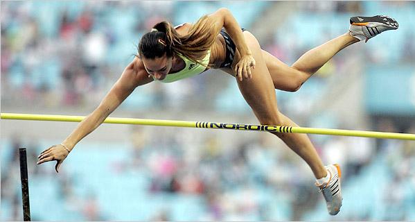 Yelena Isinbayeva passing the bar