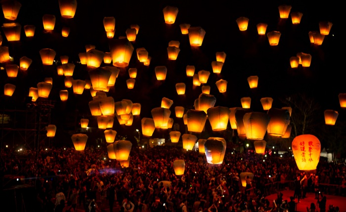 A sky full of lanterns